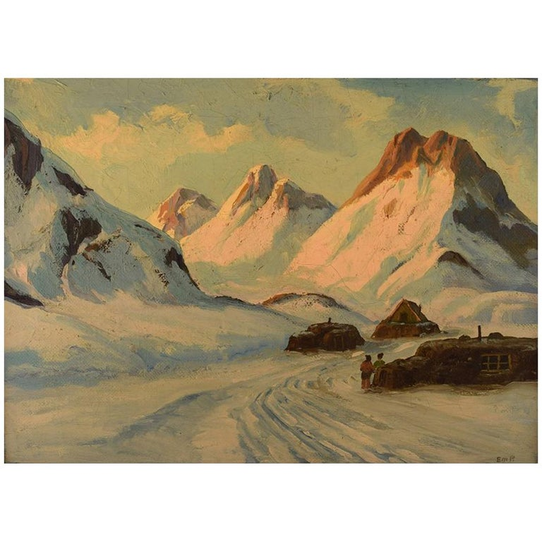 Emanuel a. Petersen, Greenlandic Landscape. Oil on Canvas For Sale