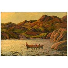 Emanuel A. Petersen, Umiak in Greenlandic Fjord, Oil, Canvas