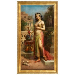 "Emanuel Oberhauser Full Length ""Orientalist Queen"" Oil"