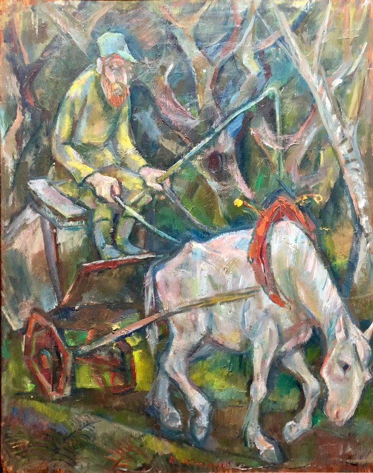 Large Modernist Oil Painting 1940s, Judaica Hasidic Shtetl Wagon Driver WPA Era - Gray Landscape Painting by Emanuel Glicenstein Romano