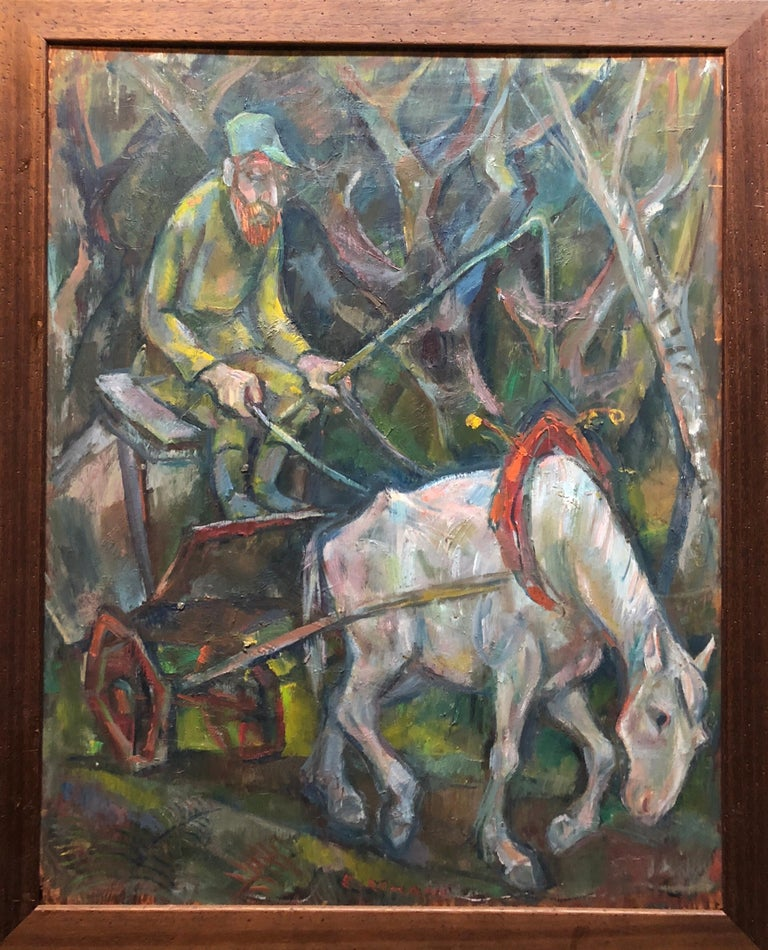Genre: Modern Subject: Landscape with figure of horse, driver and wagon Medium: Oil Surface: wood Board    EMANUEL ROMANO Rome, Italy, b. 1897, d. 1984 Emanuel Glicen Romano was born in Rome, September 23, 1897.   His father Henryk Glicenstein was a