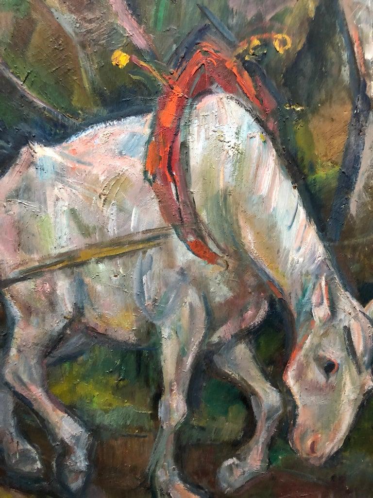Large Modernist Oil Painting 1940s, Judaica Hasidic Shtetl Wagon Driver WPA Era For Sale 2