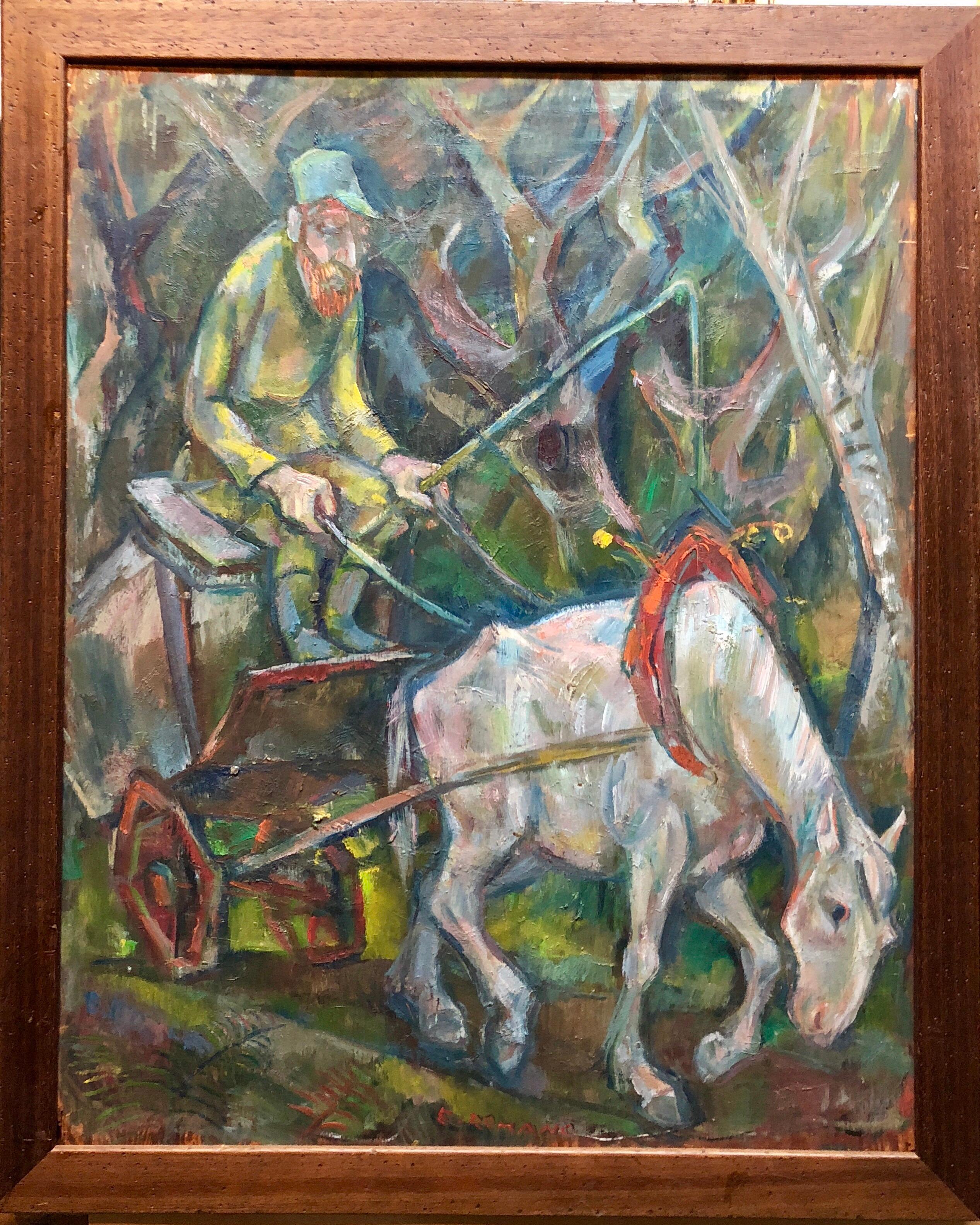 Large Modernist Oil Painting 1940s, Judaica Hasidic Shtetl Wagon Driver WPA Era