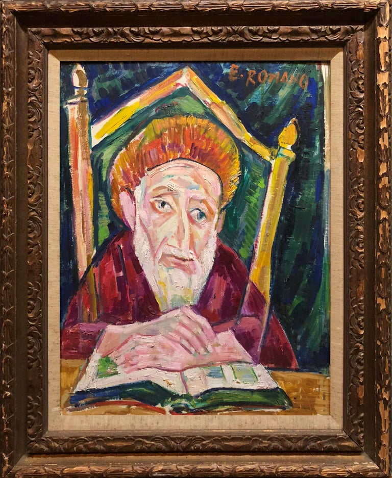 Emanuel Glicenstein Romano Figurative Painting - Modernist Oil Painting 1940s, Judaica Hasidic Rabbi in Jerusalem
