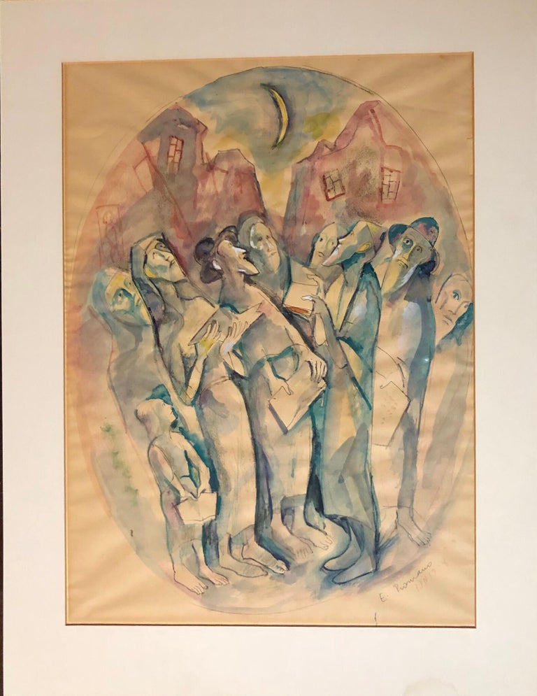Modernist Watercolor Painting Judaica Kiddush Levana Blessing New Moon - Brown Figurative Painting by Emanuel Glicenstein Romano