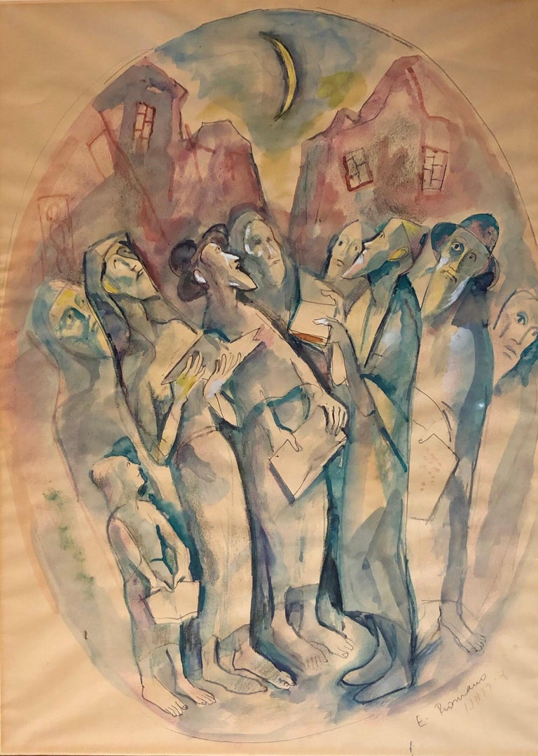 Genre: Judaic prayer scene Subject: Landscape Medium: watercolor Surface: Paper Country: United States  EMANUEL ROMANO Rome, Italy, b. 1897, d. 1984 Emanuel Glicenstein Romano was born in Rome, September 23, 1897.   His father Henryk Glicenstein was
