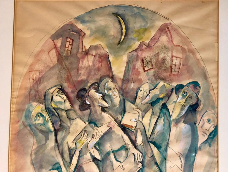 Modernist Watercolor Painting Judaica Kiddush Levana Blessing New Moon For Sale 1