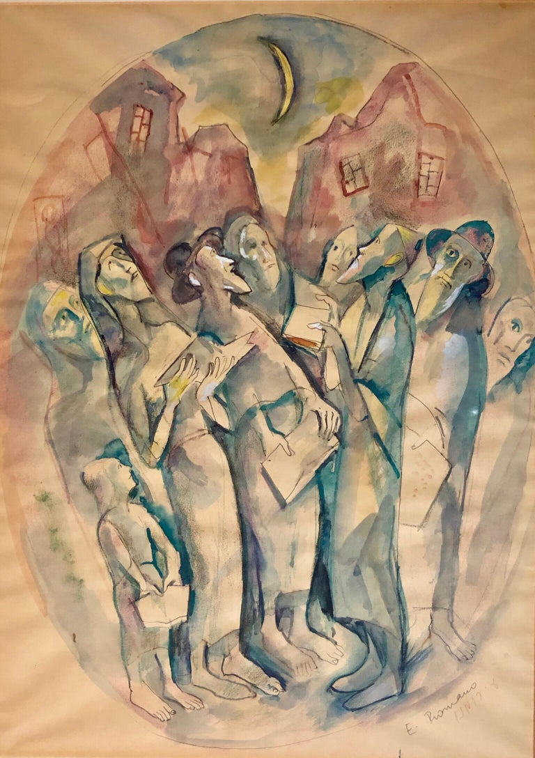 Emanuel Glicenstein Romano Figurative Painting - Modernist Watercolor Painting Judaica Kiddush Levana Blessing New Moon