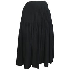 Emanuel Ungaro 1990s Silk & Cotton Pleated Black Skirt Size 10.