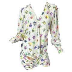 Emanuel Ungaro 1990s Size 10 Novelty Heart Print Ivory Silk Mini Dress or Blouse