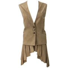 Emanuel Ungaro 1990s Tan Suede Leather Size 42 / 8 Dip Hem Vintage 90s Vest Top
