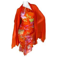 Emanuel Ungaro 3 Piece Silk Floral One Shoulder Dress w Shawl by Peter Dundas