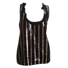 Emanuel Ungaro Black and Gold Striped Sequin Embellished Silk Sleeveless Top L