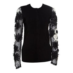 Emanuel Ungaro Black Floral Applique Lace Sleeve Detail Cardigan L