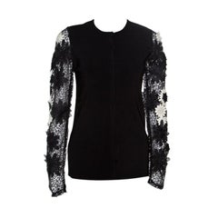 Emanuel Ungaro Black Floral Applique Lace Sleeve Detail V Neck Pullover L