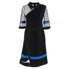 Emanuel Ungaro Black Neoprene Tulle Panelled Dress - Size US 4