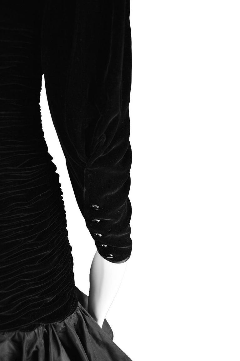 Emanuel Ungaro Black Ruched Velvet & Taffeta Ruffle Vintage Evening Dress, 1980s For Sale 6