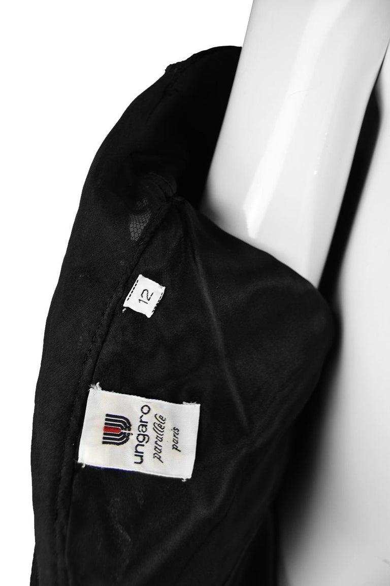 Emanuel Ungaro Black Ruched Velvet & Taffeta Ruffle Vintage Evening Dress, 1980s For Sale 7