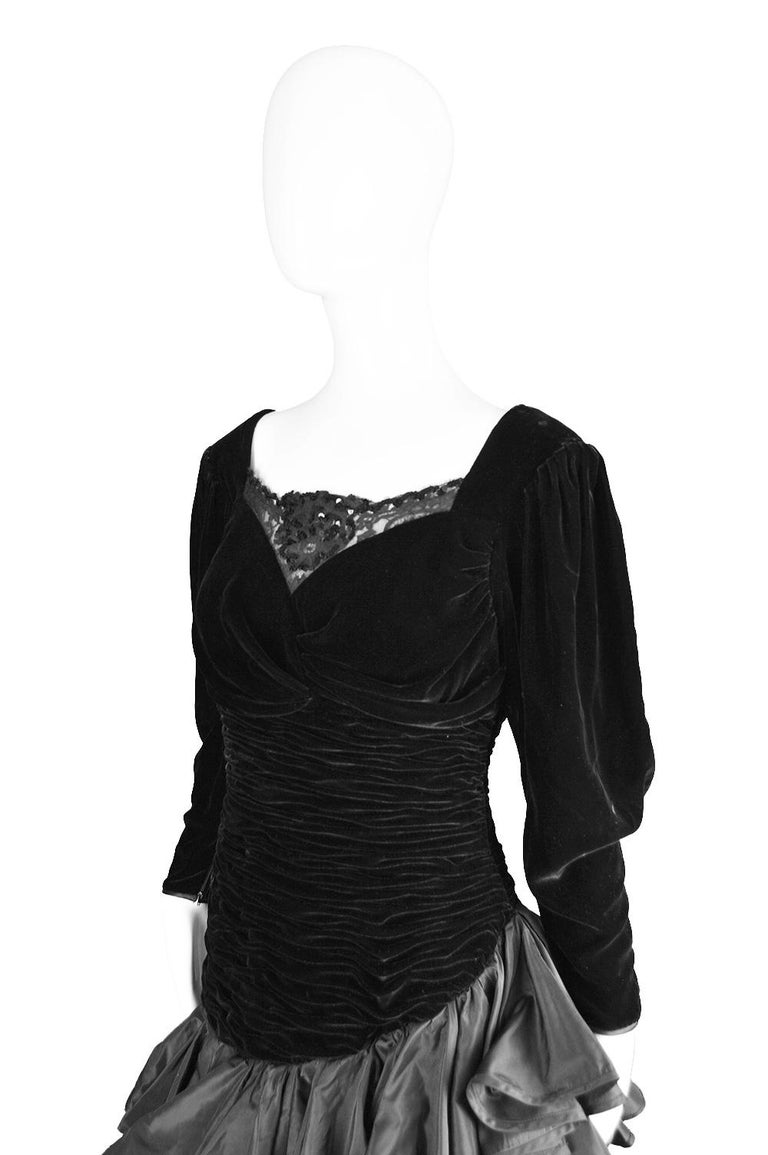 Emanuel Ungaro Black Ruched Velvet & Taffeta Ruffle Vintage Evening Dress, 1980s In Excellent Condition For Sale In Doncaster, South Yorkshire