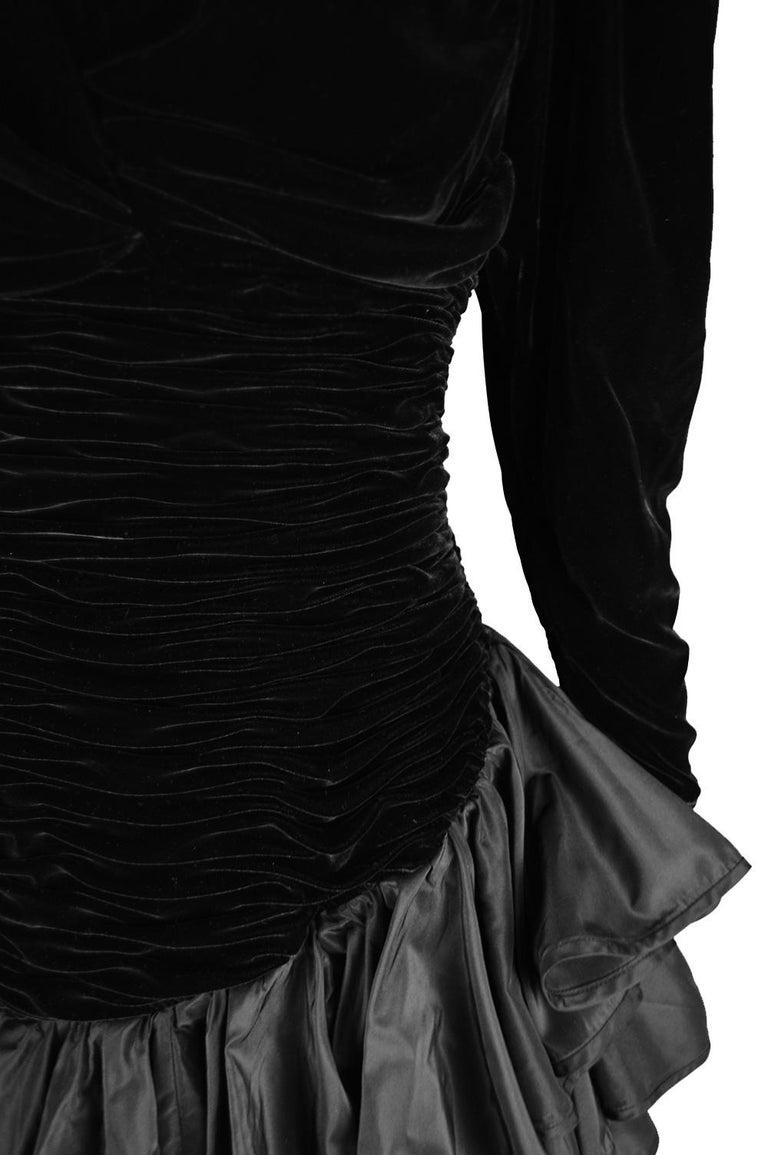 Emanuel Ungaro Black Ruched Velvet & Taffeta Ruffle Vintage Evening Dress, 1980s For Sale 1