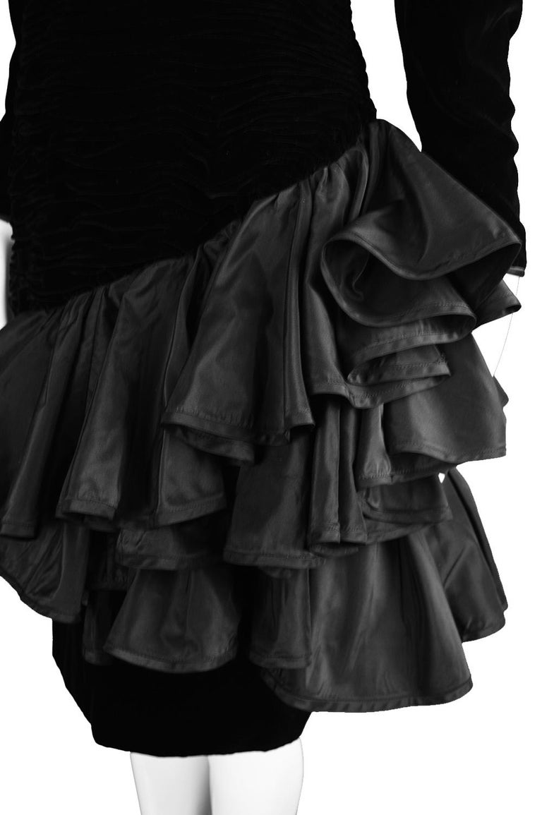 Emanuel Ungaro Black Ruched Velvet & Taffeta Ruffle Vintage Evening Dress, 1980s For Sale 2