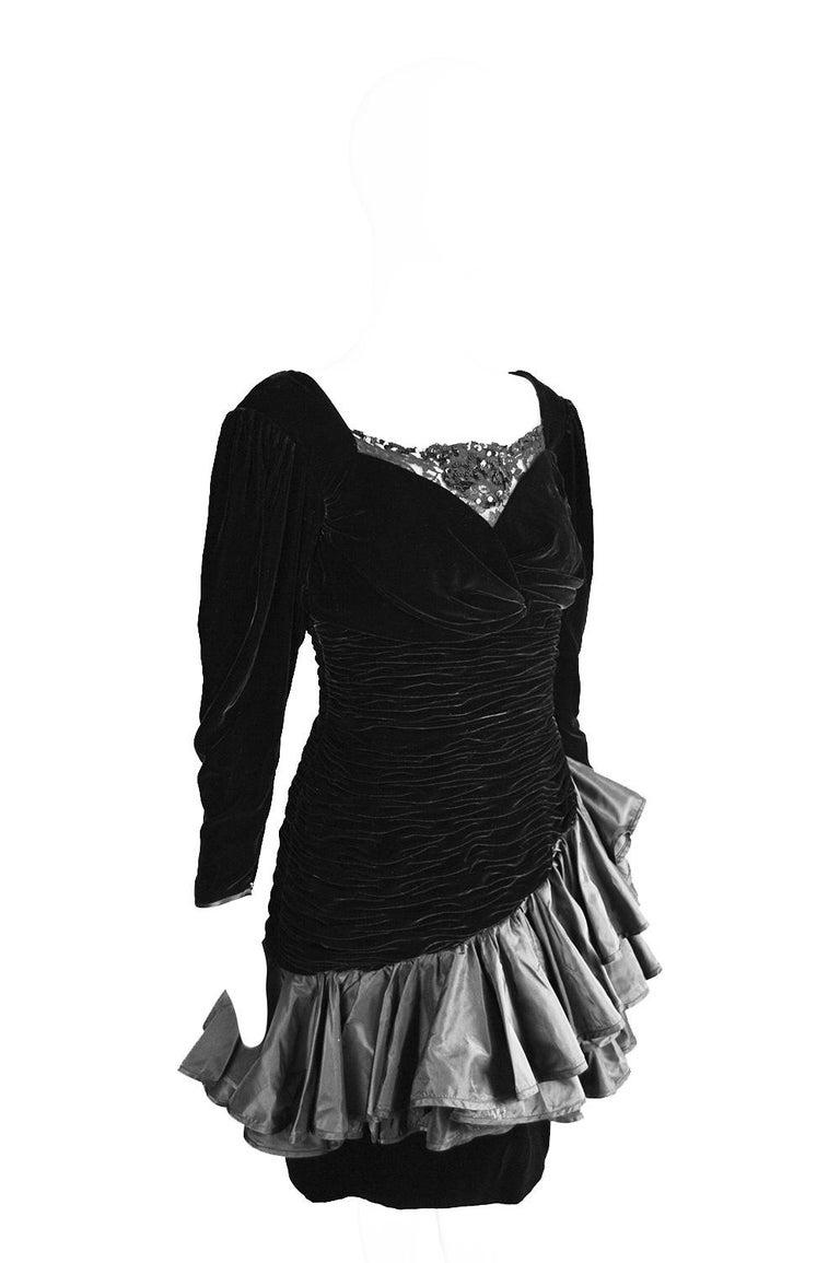Emanuel Ungaro Black Ruched Velvet & Taffeta Ruffle Vintage Evening Dress, 1980s For Sale 3