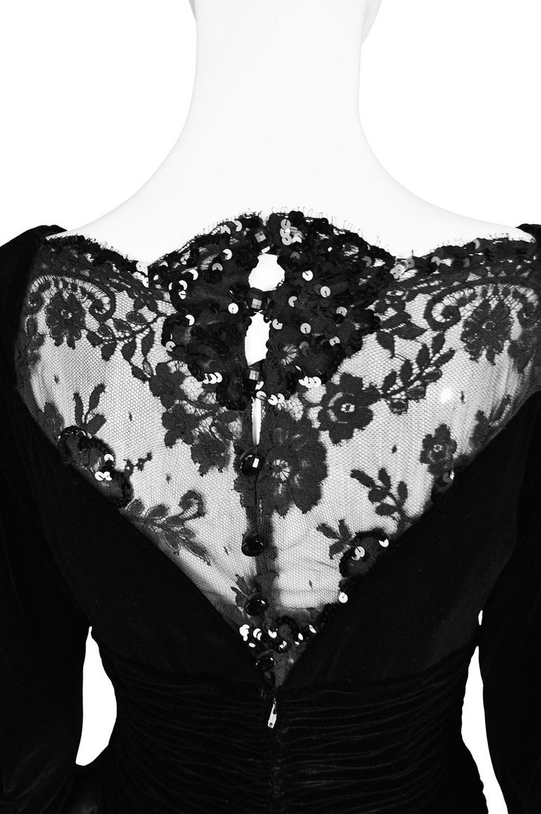 Emanuel Ungaro Black Ruched Velvet & Taffeta Ruffle Vintage Evening Dress, 1980s For Sale 4