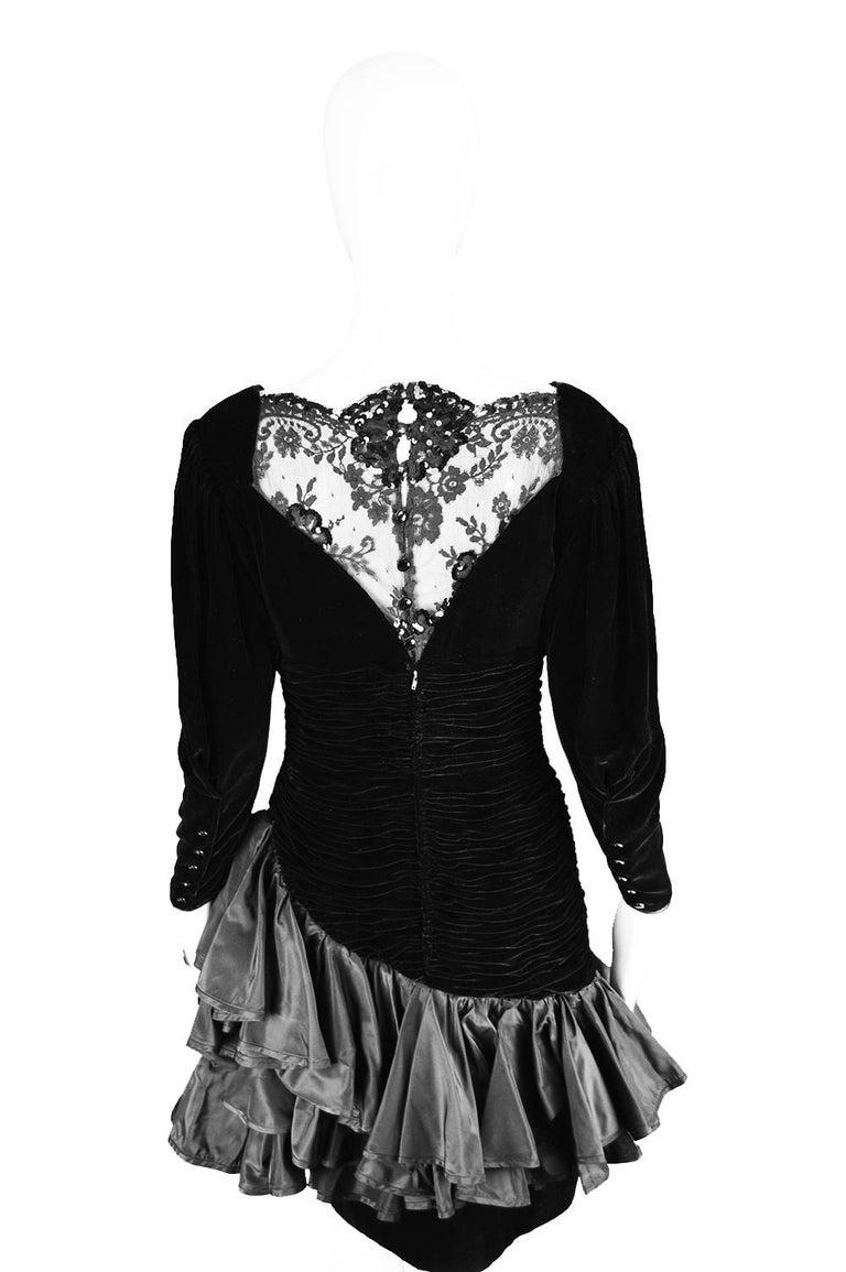 Emanuel Ungaro Black Ruched Velvet & Taffeta Ruffle Vintage Evening Dress, 1980s For Sale 5