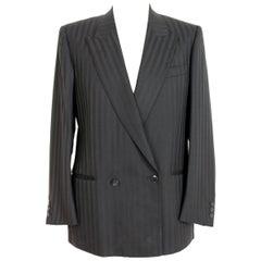 Emanuel Ungaro Black Wool Double Breatsed Pinstripe Evening Jacket