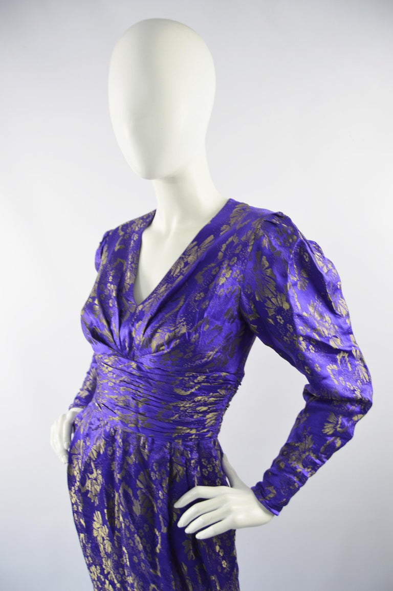 Emanuel Ungaro Blue Silk Brocade Dress In Excellent Condition For Sale In Doncaster, South Yorkshire