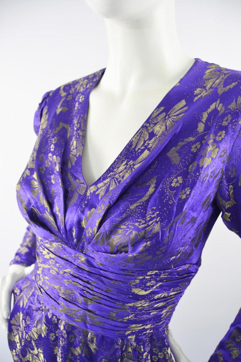 Women's Emanuel Ungaro Blue Silk Brocade Dress For Sale