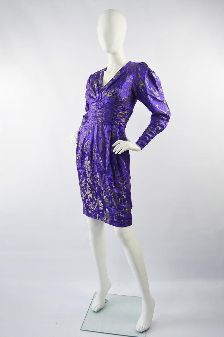 Emanuel Ungaro Blue Silk Brocade Dress For Sale 1