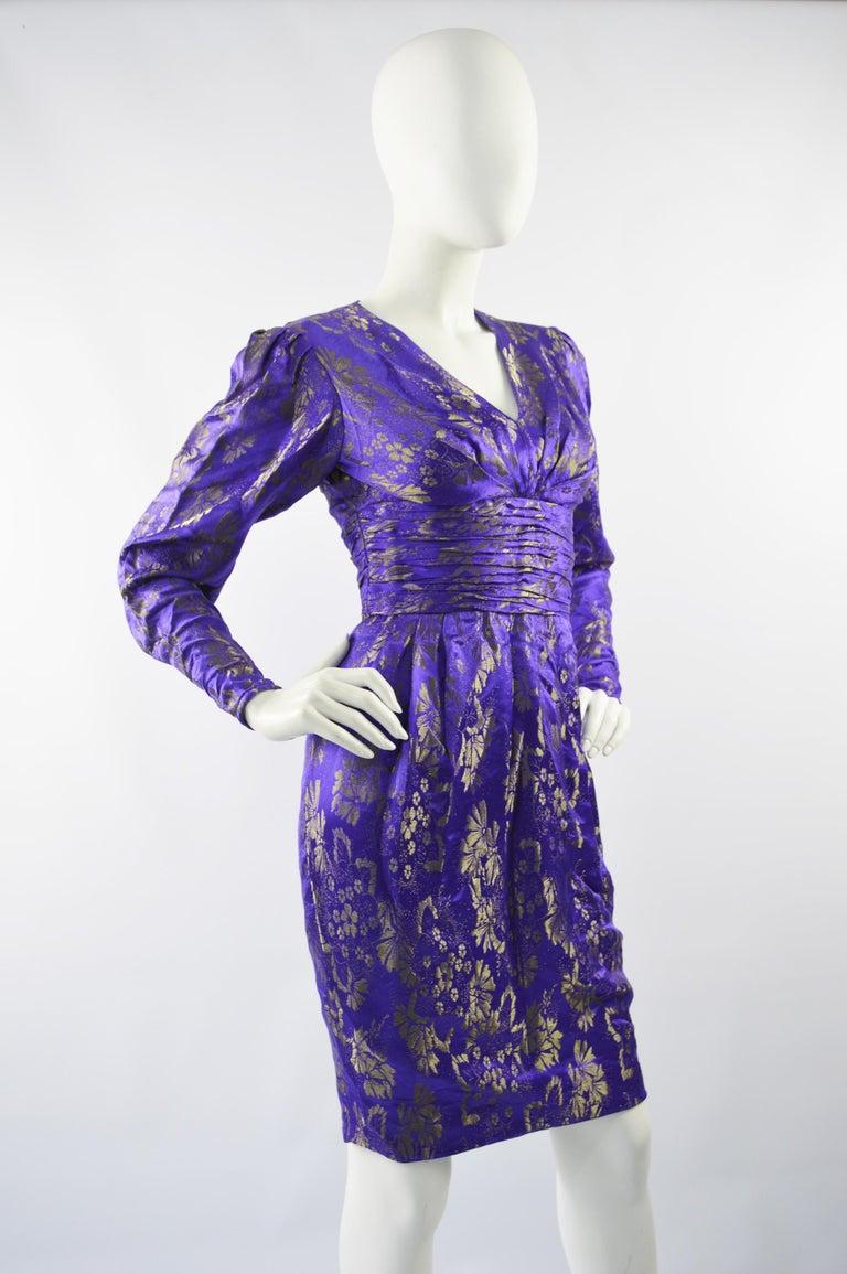 Emanuel Ungaro Blue Silk Brocade Dress For Sale 2