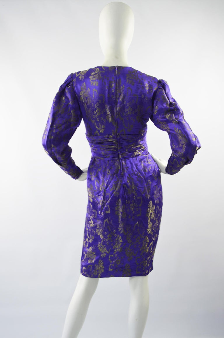 Emanuel Ungaro Blue Silk Brocade Dress For Sale 4