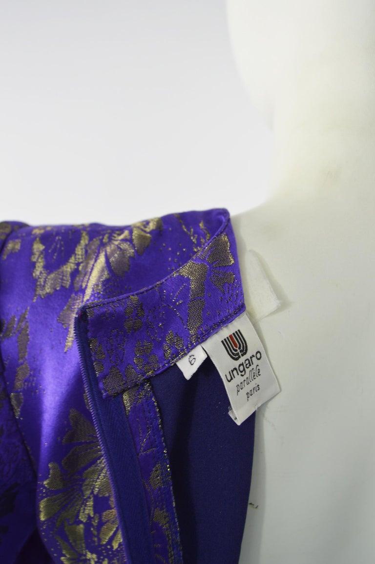 Emanuel Ungaro Blue Silk Brocade Dress For Sale 5