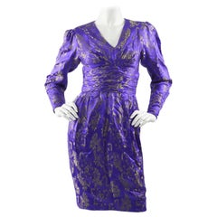 Emanuel Ungaro Blue Silk Brocade Dress