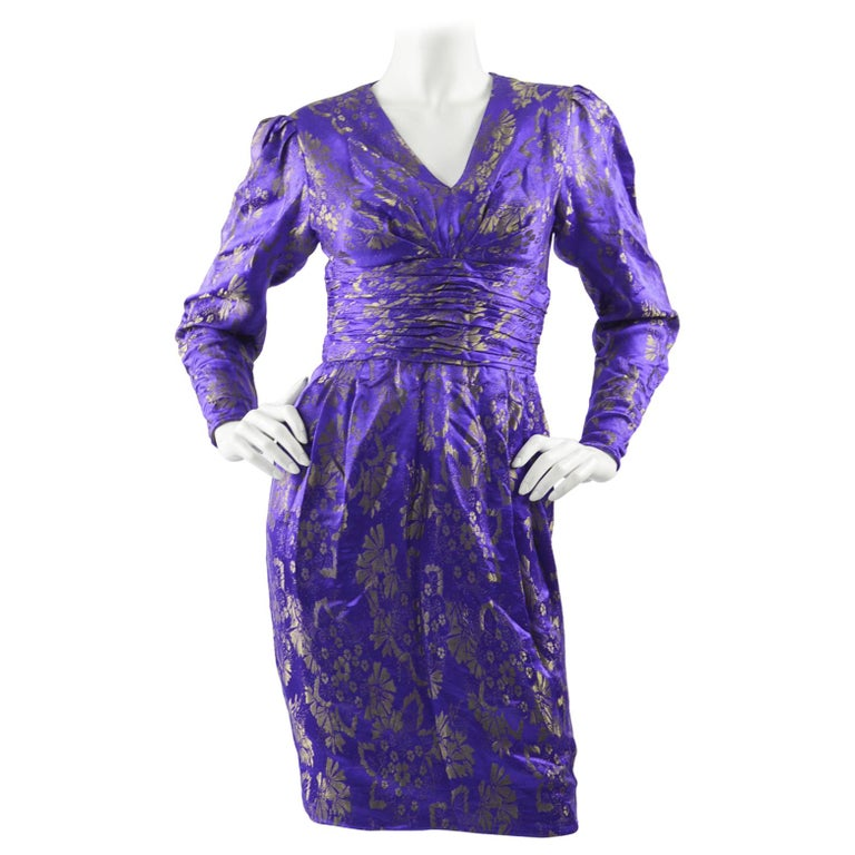 Emanuel Ungaro Blue Silk Brocade Dress For Sale