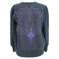 Emanuel Ungaro Blue Wool and Angora 1990s Peacock Purple and Gold Sweater