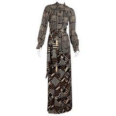 Emanuel Ungaro Brown Printed Wool Tunic and Skirt Set