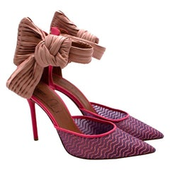 Emanuel Ungaro By Malone Souliers Pink Leather & Mesh Bow Heeled Shoes - EU 37.5