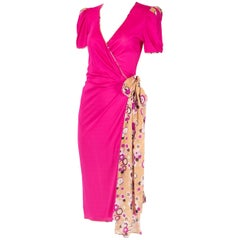 Emanuel Ungaro Fuchsia Wrap Dress w/Multicolored Print Waist Ties