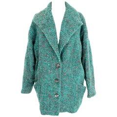 Emanuel Ungaro Green Pink Mohair Wool Boucle Classic Cocoon Coat