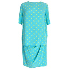 Emanuel Ungaro Light Blue Silk Skirt Suit Polka Dot Party Cocktail Dress 1990s