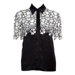 Emanuel Ungaro Monochrome Floral Lace Cut Out Bodice Silk Blouse S