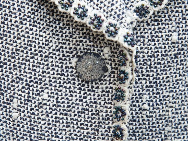 Gray Emanuel Ungaro Navy Blue & White Tweed Skirt Suit Set For Sale