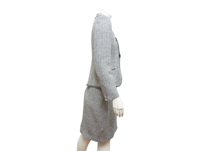 Emanuel Ungaro Navy Blue & White Tweed Skirt Suit Set In Good Condition For Sale In New York, NY