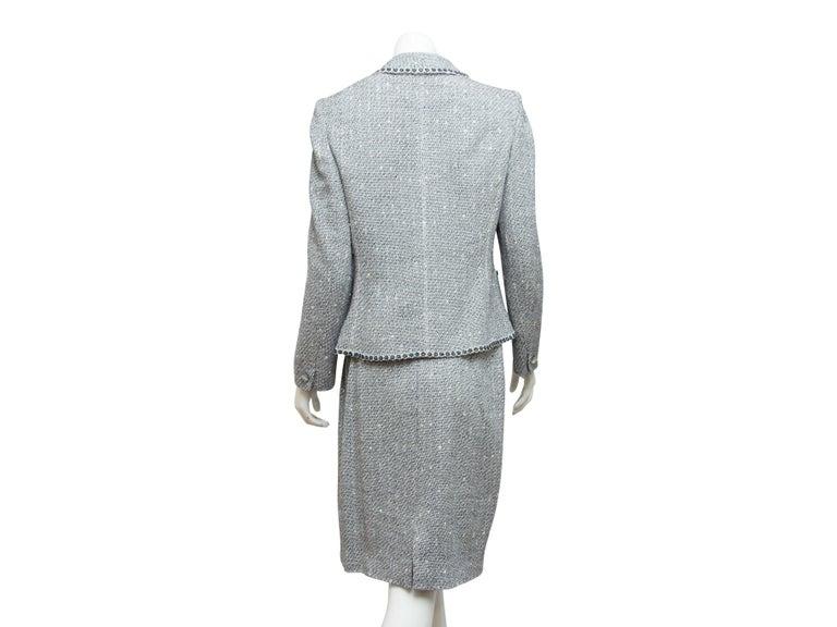 Women's Emanuel Ungaro Navy Blue & White Tweed Skirt Suit Set For Sale