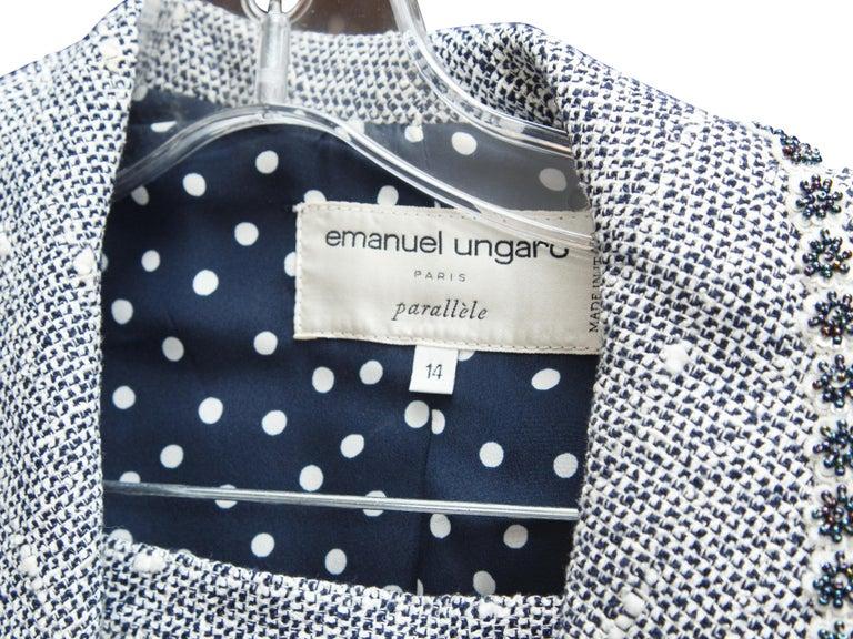 Emanuel Ungaro Navy Blue & White Tweed Skirt Suit Set For Sale 1