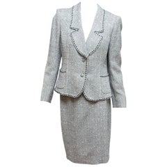 Emanuel Ungaro Navy Blue & White Tweed Skirt Suit Set