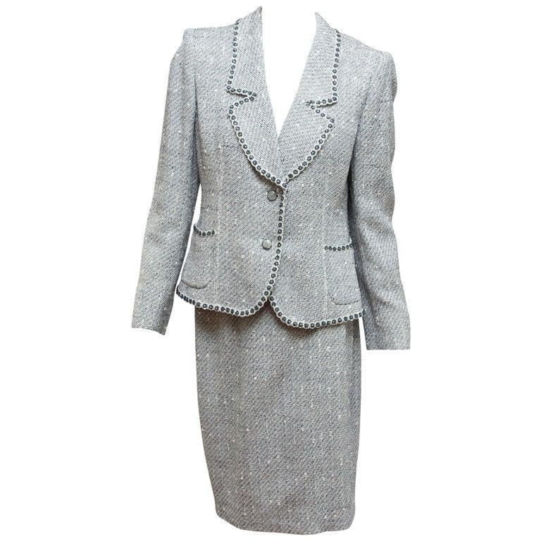 Emanuel Ungaro Navy Blue & White Tweed Skirt Suit Set For Sale